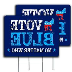 """Vote Blue No Matter Who 2 Pack Yard Sign - Each is 24"""" x 18"""""""