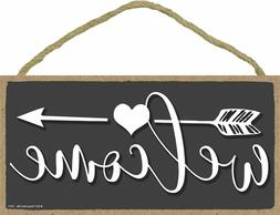 Wall Mount Welcome 5 x 10 inch Hanging Wall Art Decorative W