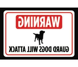 Warning Guard Dogs Will Attack Print Red White Black Large P