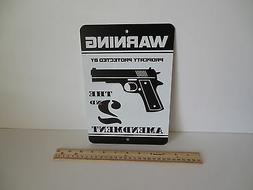 Warning Protected By 2nd Amendment Gun Security System Metal