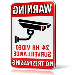 Warning 24 Hour Video Surveillance No Trespassing Metal Sign