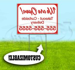 WE ARE OPEN CUSTOM PHONE NUMBER 18x24 Yard Sign WITH STAKE C