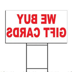 We Buy Gift Cards Red Corrugated Plastic Yard Sign /Free Sta