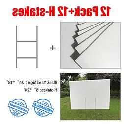 "MEJOR CONOCIDO 12 Pack 24""x18"" White Blank Lawn Yard Signs C"