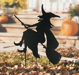 Witch on Broom Halloween Metal Stake Outdoor Statue Autumn F
