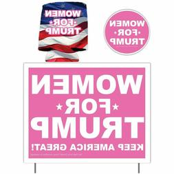 Women for Trump 2020 Yard Sign, Decal & Can Holder, Pink Tru