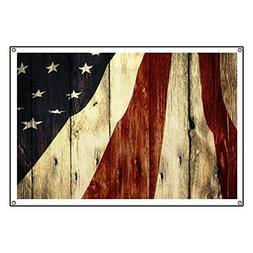 "CafePress Wood Grain USA American Flag Vinyl Banner, 44""x30"""