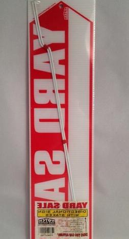 "YARD SALE SIGN 2 Sided BIG RED ARROW 18"" X 4.75"" 2 Stakes Di"