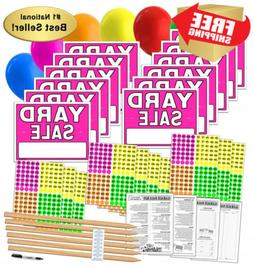 Yard Sale Sign Kit with Pricing Labels and Wood Stakes