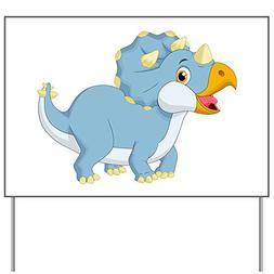 Yard Sign Cute Blue Triceratops Dinosaur