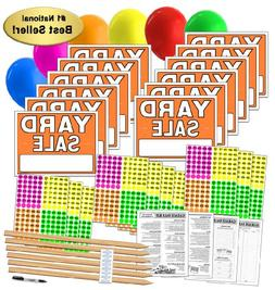 Yard Sale Sign Kit with Price Stickers and Wood Sign Stakes