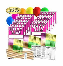 Yard Sale Sign Kit with Pricing Labels and Wood Sign Stakes