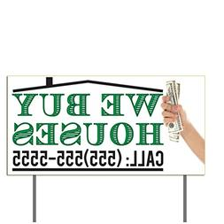VictoryStore Yard Sign Outdoor Lawn Decorations: We Buy Hous