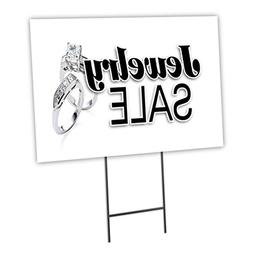 "JEWELRY SALE 12""x16"" Yard Sign & Stake outdoor plastic corop"