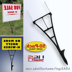 Yard Sign Stakes 50-PACK - High Density Sign Holder for Corr