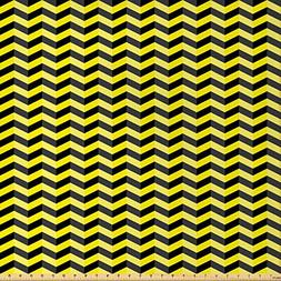 Ambesonne Yellow Chevron Fabric by The Yard, Black and Yello
